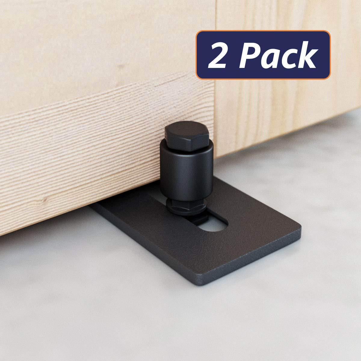 2 Rouleaux 2 Pi/èces TOOGOO Rouleau de Guidage de Plancher R/églable de Porte de Grange Coulissante Facile /à Installer Super Lisse Et Silencieux Noir