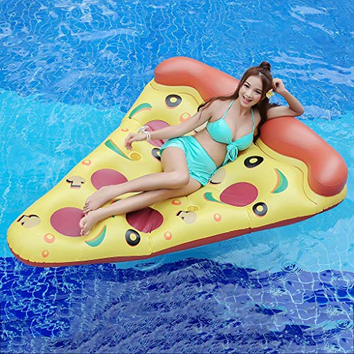 Inflatable Yellow and Orange Pizza Slice Pool Float Floatie with Ball Water Fun Large Blow Up Summer Beach Swimming Floaty Party Toys Lounge Raft for Kids Adults, 70.9 Inch (Brown)