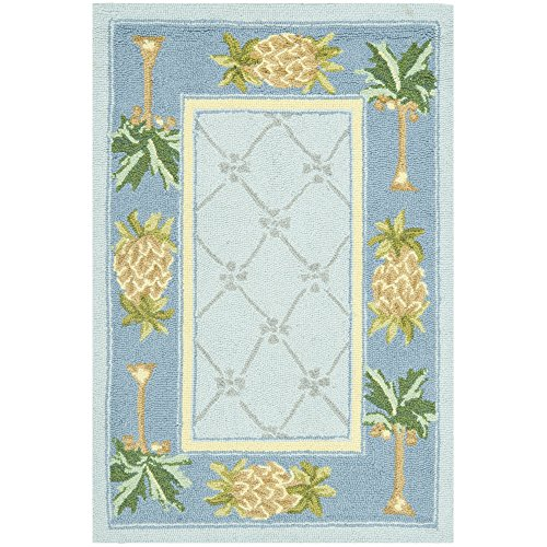Palm Tree Border Rug - Safavieh Chelsea Collection HK362D Hand-Hooked Light Blue and Blue Premium Wool Area Rug (1'8