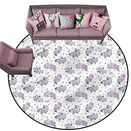 Thin Non-Slip Kitchen Bathroom Carpet Colorful Mauve,Blooms of Nature Romantic Diameter 60