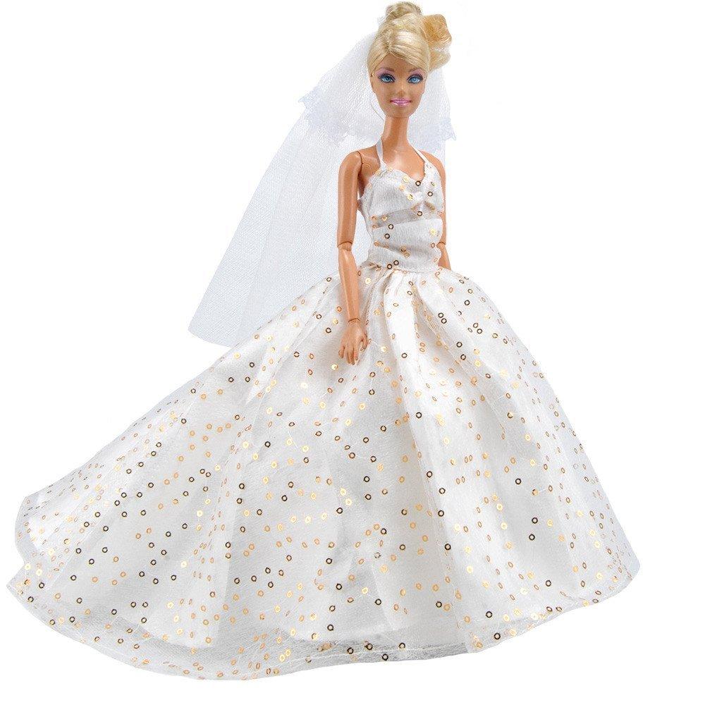 E-TING bambola abito da sposa principessa abito Abito pizzo floreale con Set di sera festa vestito di Paillette Barbie vestiti Cenerentola + velo impostato per Barbie Doll---miglior regalo per la vostra ragazze (Bambola Non è Incluso)