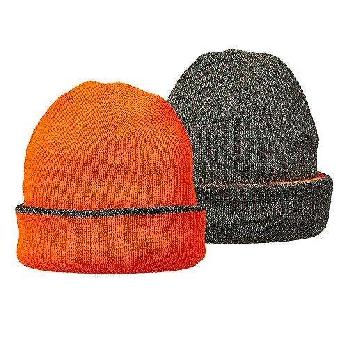 Jacob Reversible Ash Cap (Hot Shot Mens 4-Ply Cuff Cap, Green Camo/Blaze Orange, One Size)