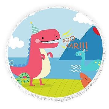 Yun Nist Toallas de playa redondas con borlas de dinosaurio, diseño de dibujos animados con flecos, gruesas, para picnic, yoga, etc.: Amazon.es: Hogar