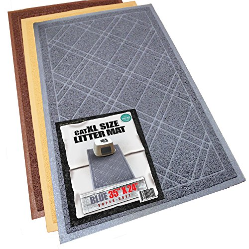 Phthalate & BPA Free. XL Size Cat Litter Mat - Mesh Mat Catches Litter - Repels Odor & Liquid - Litter Free Floors. Extra Soft, Easy Clean. iPrimio Brand. Blue Gray Color.
