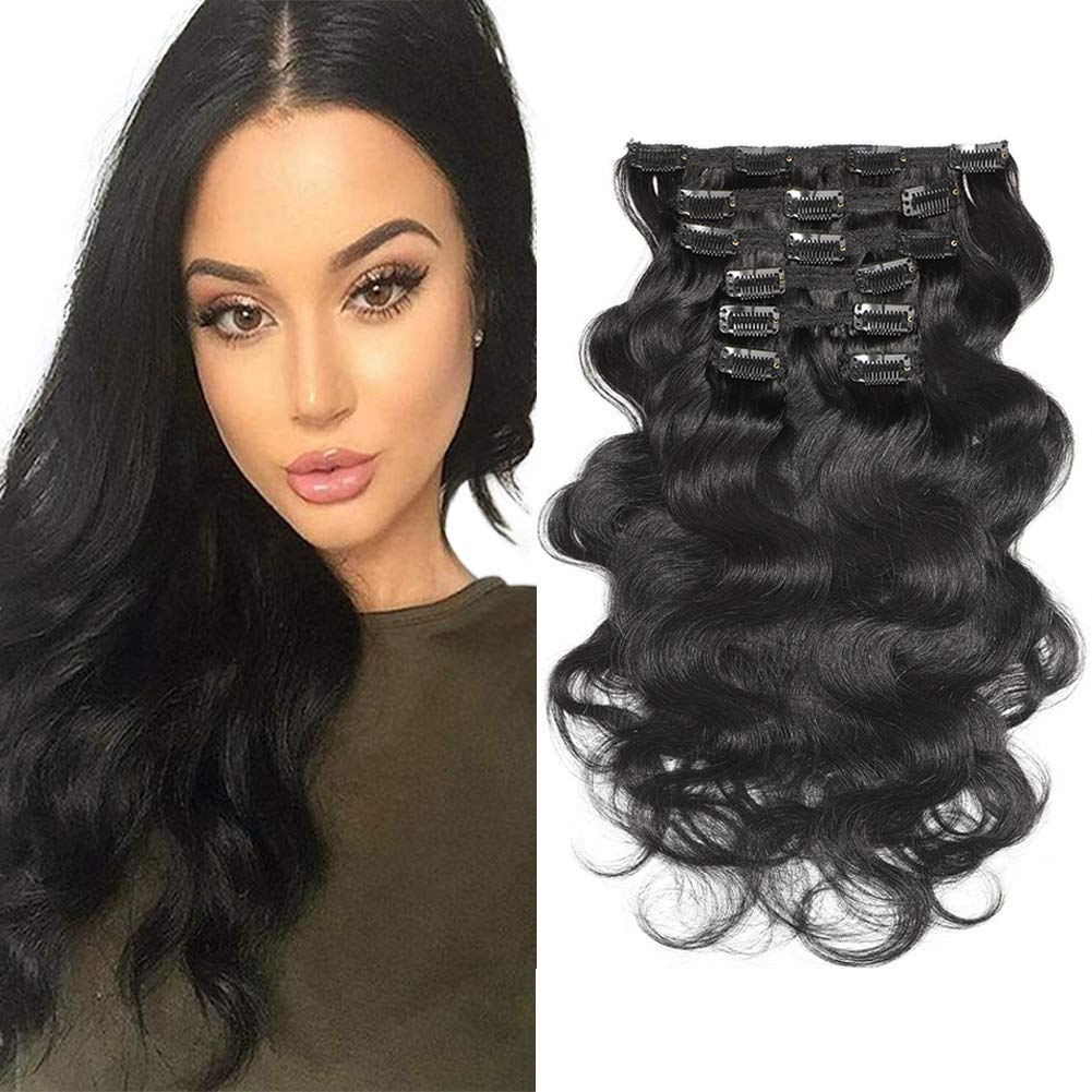 "Urbeauty Wavy Clip ins Hair Extensions Human Hair, 18"" Jet Black Body Wave Clip in Remy Human Hair Extensions for Women 7Pcs/100g"