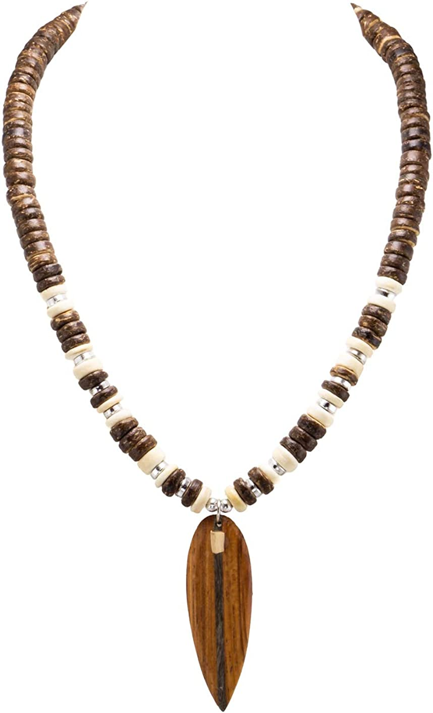 BlueRica Wood Surfboard Pendant on Coconut Wood Beads Necklace