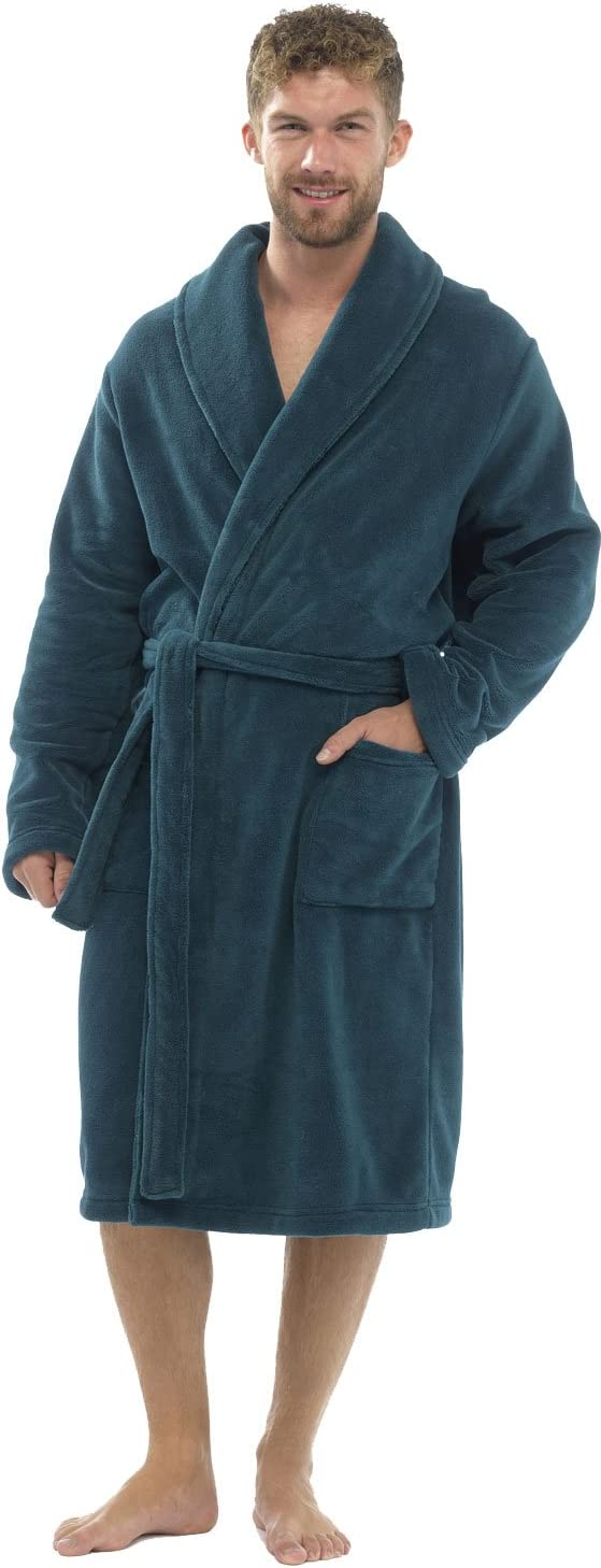 Tom Franks Mens Plain Supersoft Fleece Bath Robe Large//Extra Large Green