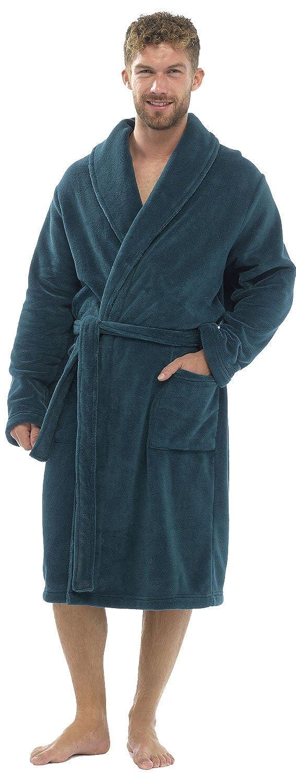 Tom Franks Men's Plain Supersoft Calf Length Bath Robe Dressing Gown HT501A
