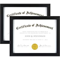 ONE WALL 8.5x11 Diploma Frame Displays 8.5x11 Inch Document Certificate Without Mat, Black Photo Frame Made of Solid…