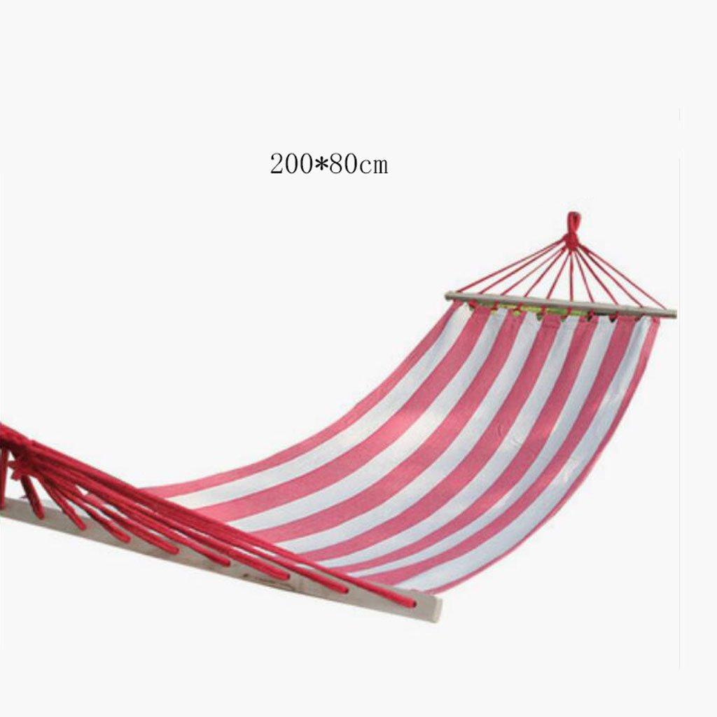 Hängematte Outdoor Hängematte Schlafzimmer Camping Hängematte feste Holz Hängematte Casual einzigen Person tragbare rote Leinwand Hängematte (200  80cm)