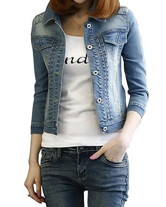 Corto Chaquetas Jacket De Mezclilla Abrigo Denim Jackets Para Mujer 2XL: Amazon.es: Ropa y accesorios