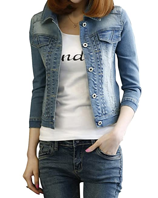 newest f35b8 0c5c3 Donna Slim Fit Corto Giacca Di Jeans Denim Giubbino: Amazon ...