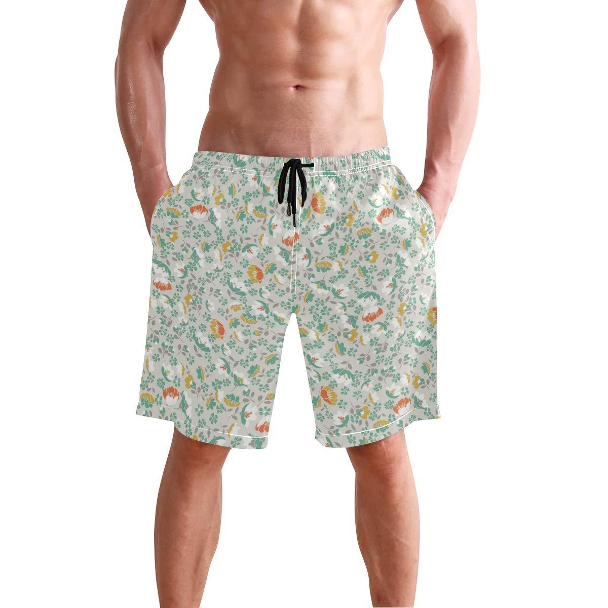 WIHVE Mens Beach Swim Trunks Flower Floral Cloth Pattern Boxer Swimsuit Underwear Board Shorts with Pocket