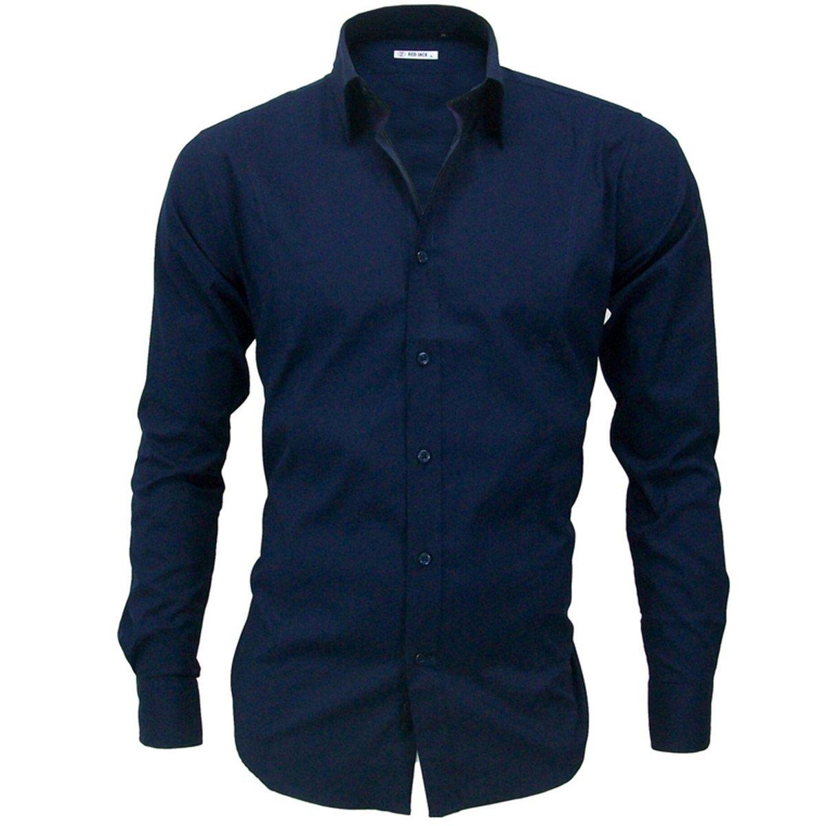 78eeaad3ee Giosal Camicia Uomo Casual Cotone Colletto Rigido Tinta Unita Slim:  Amazon.it: Abbigliamento