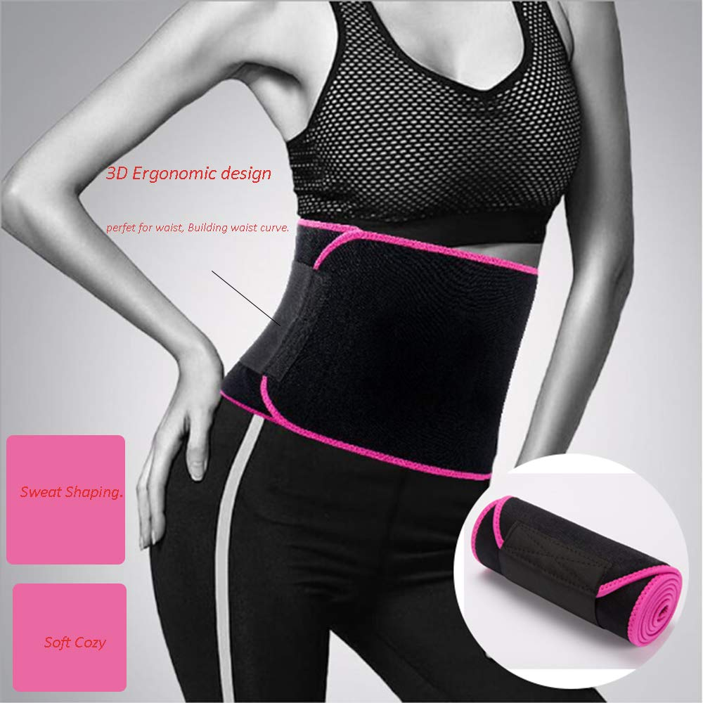 CLEYCYE Waist Trimmer for Women & Men, Neoprene Sauna Sweat Belt, Waist Trainer for Weight Loss, Adjustable Stomach Belly Fat Burner Wrap, Compression Band for Weight Loss Workout Fitness,Black+Large