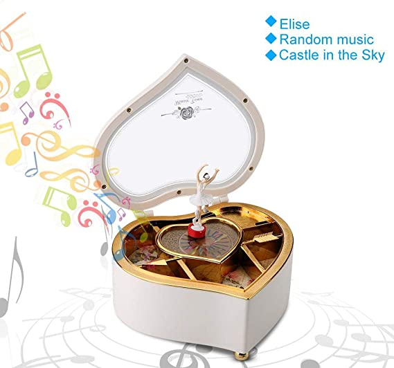 AUNMAS Caja de música en Forma de corazón con Spinning Dance ...