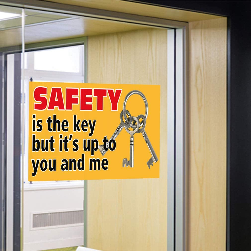 Set of 2 52inx34in Decal Sticker Multiple Sizes Safety is The Key Its Up to You and Me Industrial /& Craft Key Outdoor Store Sign Yellow