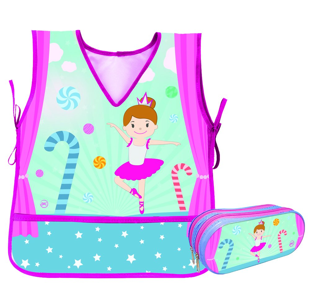 Kids (4 to 9) Ballerina Design Apron With Large Double Zipper Matching Pencil Case