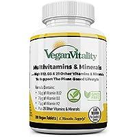 Vegan Multivitamins & Minerals with High Strength Vitamin B12, D3 & K2. 180 multivitamin Tablets - 6 Months Supply…