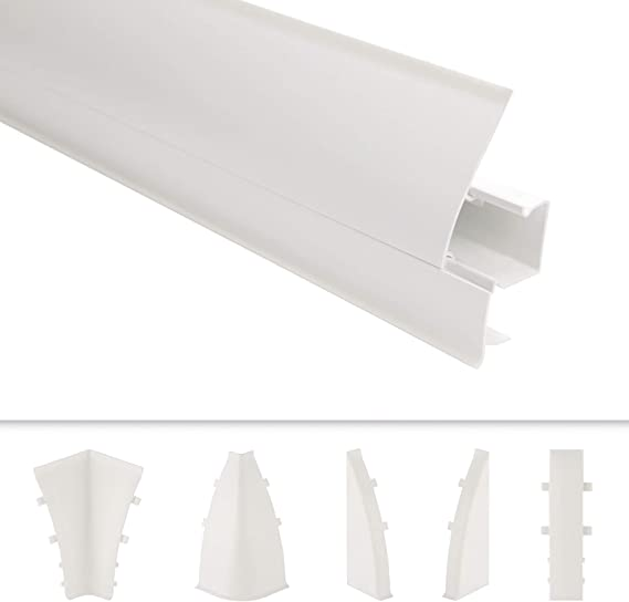 Sockelleisten und Zubeh/ör 2 Meter 65x23mm SL.087A integrierter Kabelkanal Kunststoff Fu/ßleisten PVC Moderne Laminatleisten riesige Auswahl