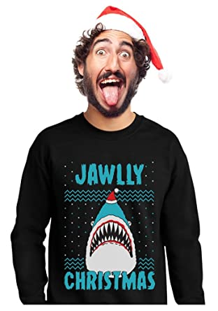 jawlly christmas ugly christmas sweater for xmas party shark sweatshirt small black - Shark Christmas Sweater