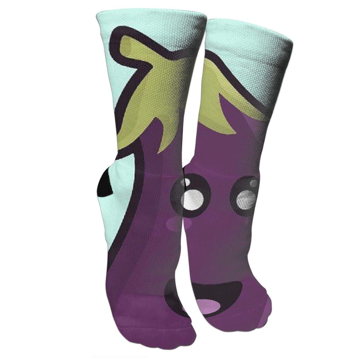 Amazon.com  Purple Kawaii Eggplant White Athletic Tube Stockings Women s  Men s Classics Knee High Socks Sport Long Sock One Size  Sports   Outdoors ca57b10156