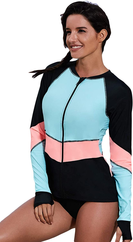 Halolaa Womens Rash Guard Shirt Long Sleeve Swimsuit Tankini Top Only Blue
