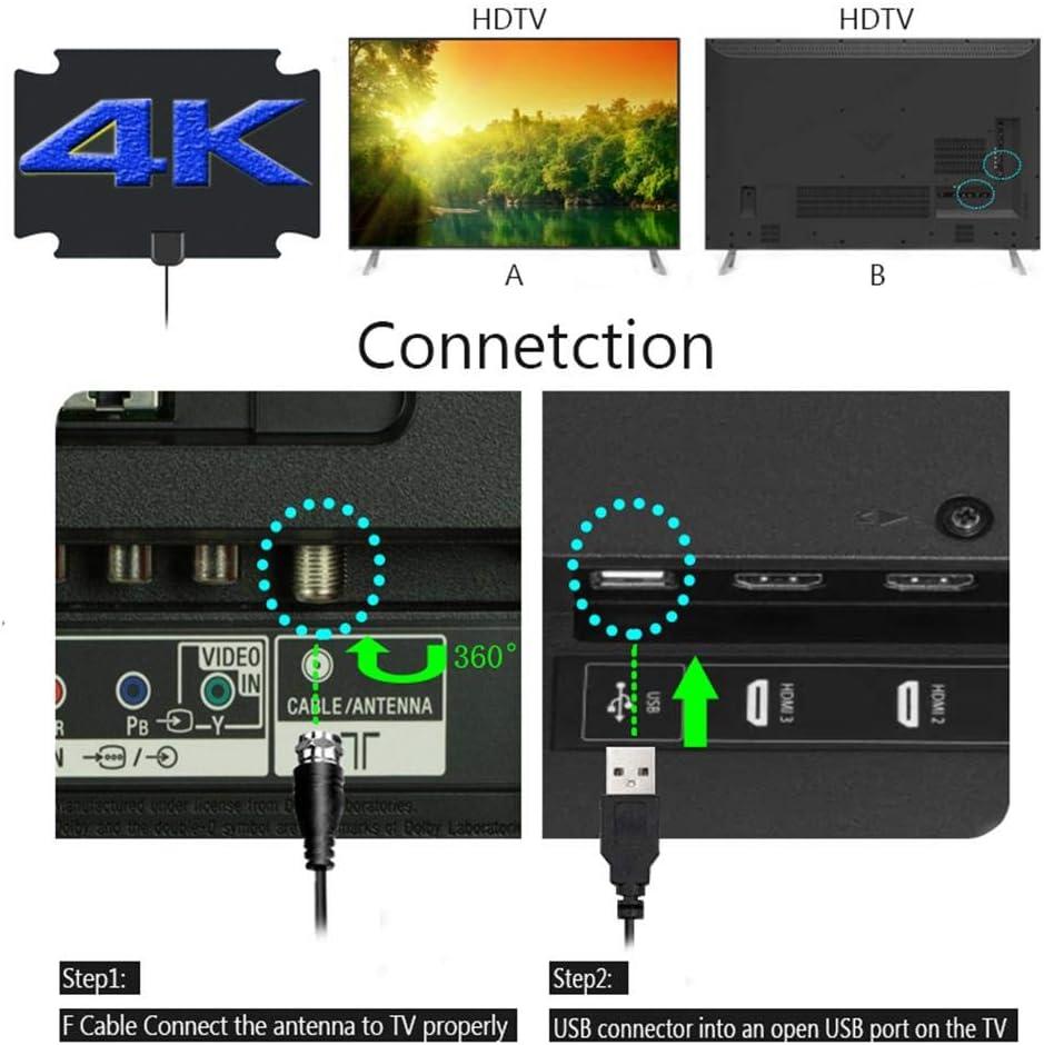 Antena de televisi/ón HD antena interior de HDTV digital reforzada de 80-1000 Miles Range HD canales de se/ñal de televisi/ón compatible con HDTVs//DAB//FM fllyingu
