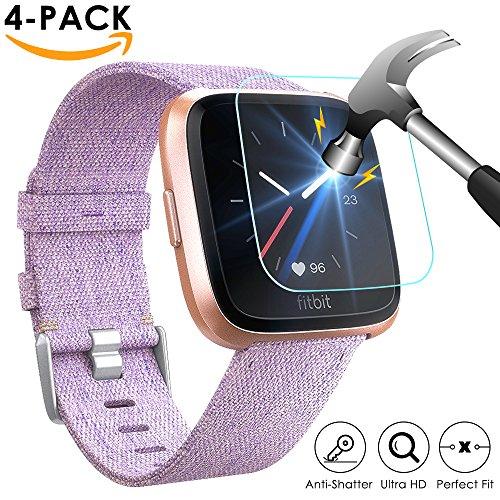 EZCO Fitbit Versa Screen Protector (4-Pack), Waterproof Tempered Glass Screen Protective Cover Saver for Fitbit Versa Smart Watch Scratch Resist 99.9% Clear HD Anti-Bubble