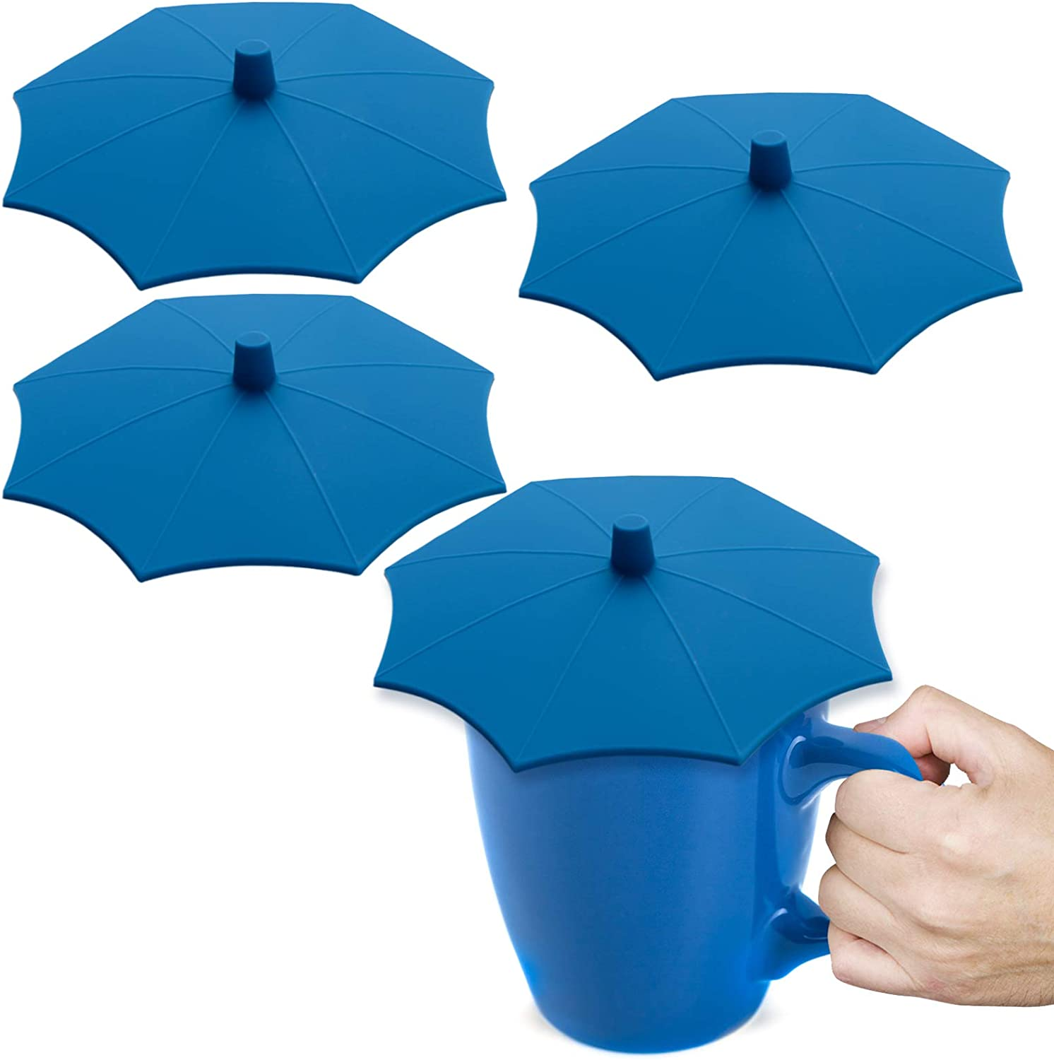 NEW Silicone Umbrella Cup Covers 4-Pack(Upgrade Oct. 2020), Dust-Proof Food Grade Lids Keep Drinks Warm or Cold Longer, Lids for Mugs, Tea Pots, Flexible Mug Covers, Cup Lids for Coffee&Tea. (Blue)