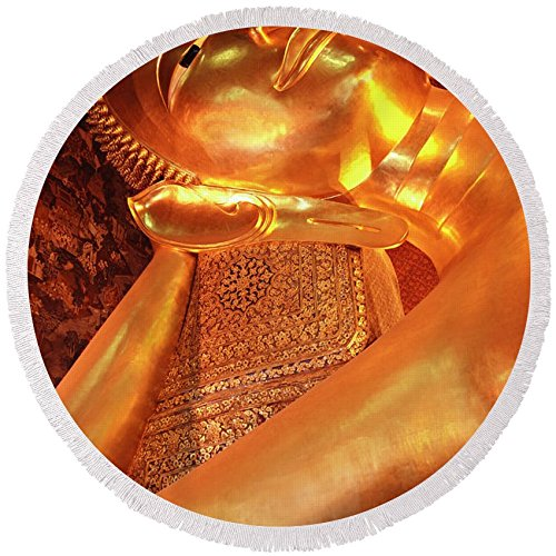 Pixels Round Beach Towel With Tassels featuring ''Reclining Buddha'' by Adam Romanowicz by Pixels