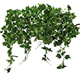 Fake Garland Vine, GTIDEA 33 Feet Artificial Ivy Hanging Plant Silk Faux Large Green Leaf Home Office Wedding Jungle Party Supplies Decorations Set of 5