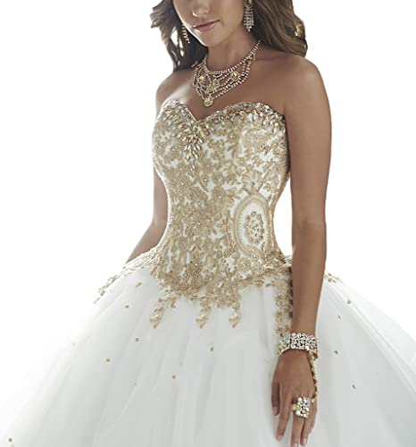 PinRro 2016 Gold Lace Ball Gown Wedding Dresses for Bride Quinceanera Gown Pin063
