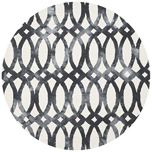 Safavieh Dip Dye Collection DDY675D Ivory and Graphite Round Area Rug, 5' in - Graphite Round