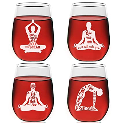 Amazon.com | Yoga Wisdom Stemless Wine Glasses Set of 4 ...