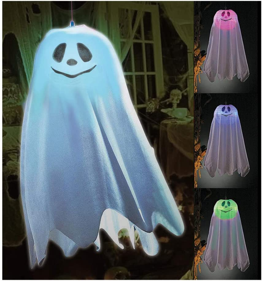 Halloween LED Hanging Ghost Lantern - Color Changing Light-Up Party Decoration Supply - Indoor or Outdoor Party Decor