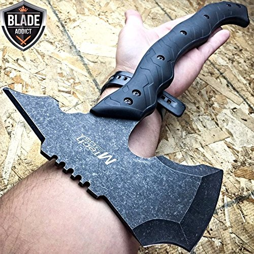 15'' STONEWASH COMBAT TOMAHAWK THROWING AXE BATTLE Hatchet Hunting EcoGift Nice Knife with Sharp Blade Tactical- Great For Fun And Practical Use by New