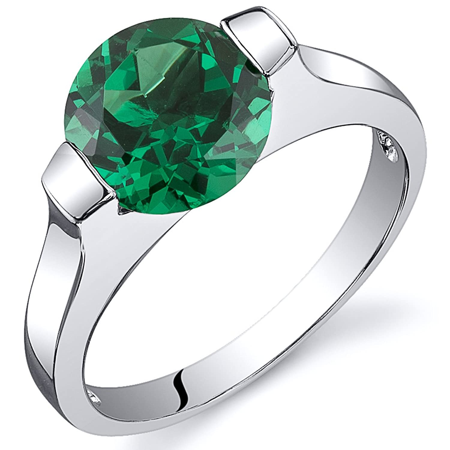 Bezel Set 1.75 carats Simulated Emerald Engagement Ring in Sterling Silver Rhodium Nickel Finish Available in Sizes 5 to 9