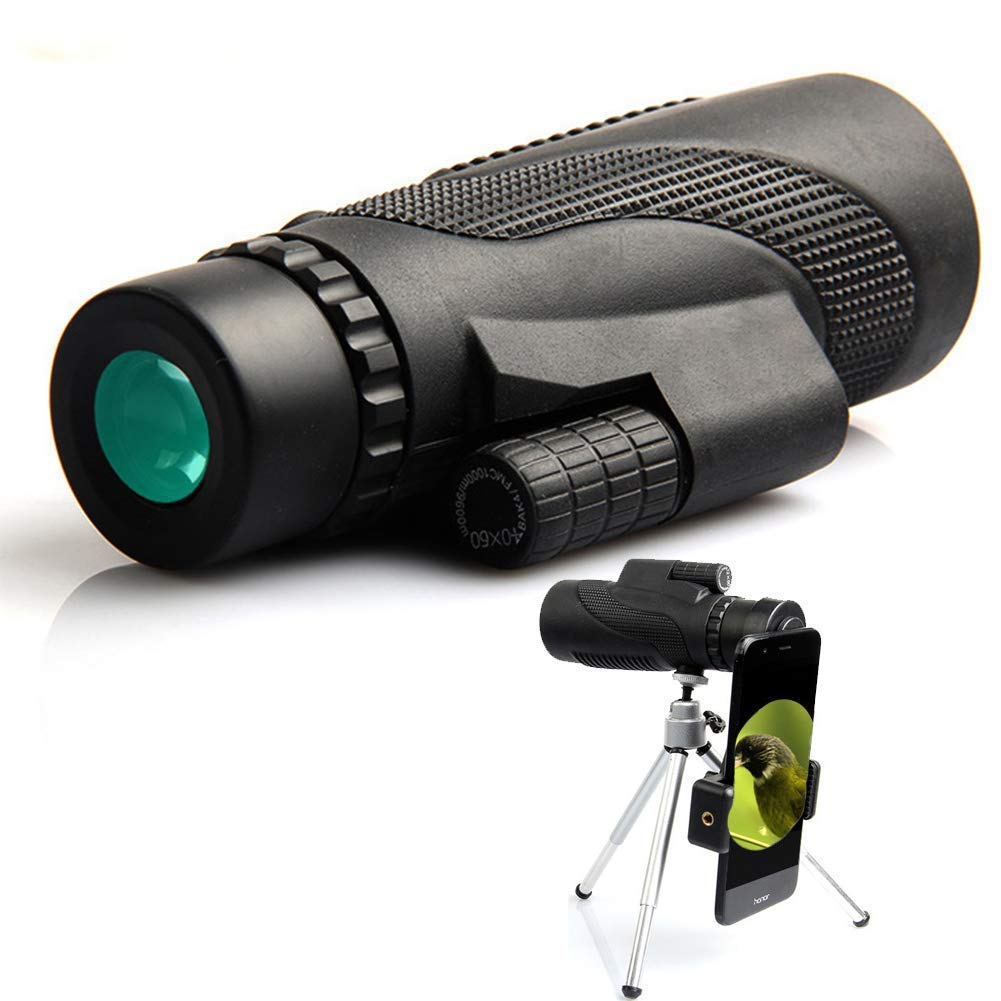 DANGSHAN Monocular Telescope, 40x60 High Powered Spotting Scope for Adults Cell Phone with Smartphone Adapter & Tripod for Bird Watching Hunting Hiking Travelling (Black)