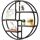 Tangkula Round Wall Shelf, Wood & Iron Wall-Mounted Shelves, 4-Tier Floating Shelves, Decorative Wall Hanging Shelves…