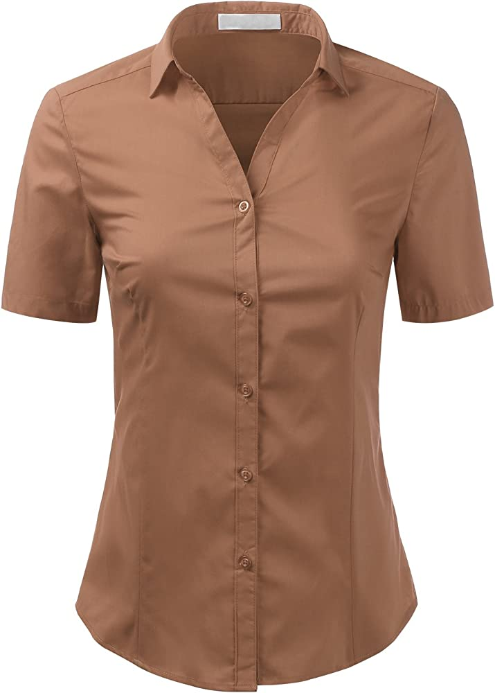 JMSHIHUA Womens Basic Simple Long//Short Sleeve Button Down Shirt,Official Ladies Blouse Dress Shirts for Women