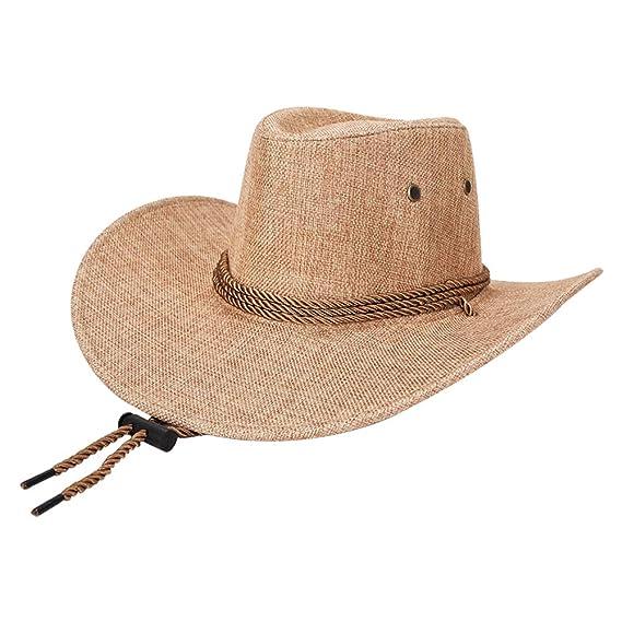 Daliuing 1 Pieza Gorro de Verano de Primavera para Hombres Sombrero de Sol  de Lino de sombrilla Sombrero de Vaquero Occidental de Moda-Beige   Amazon.es  ... 874daef8105