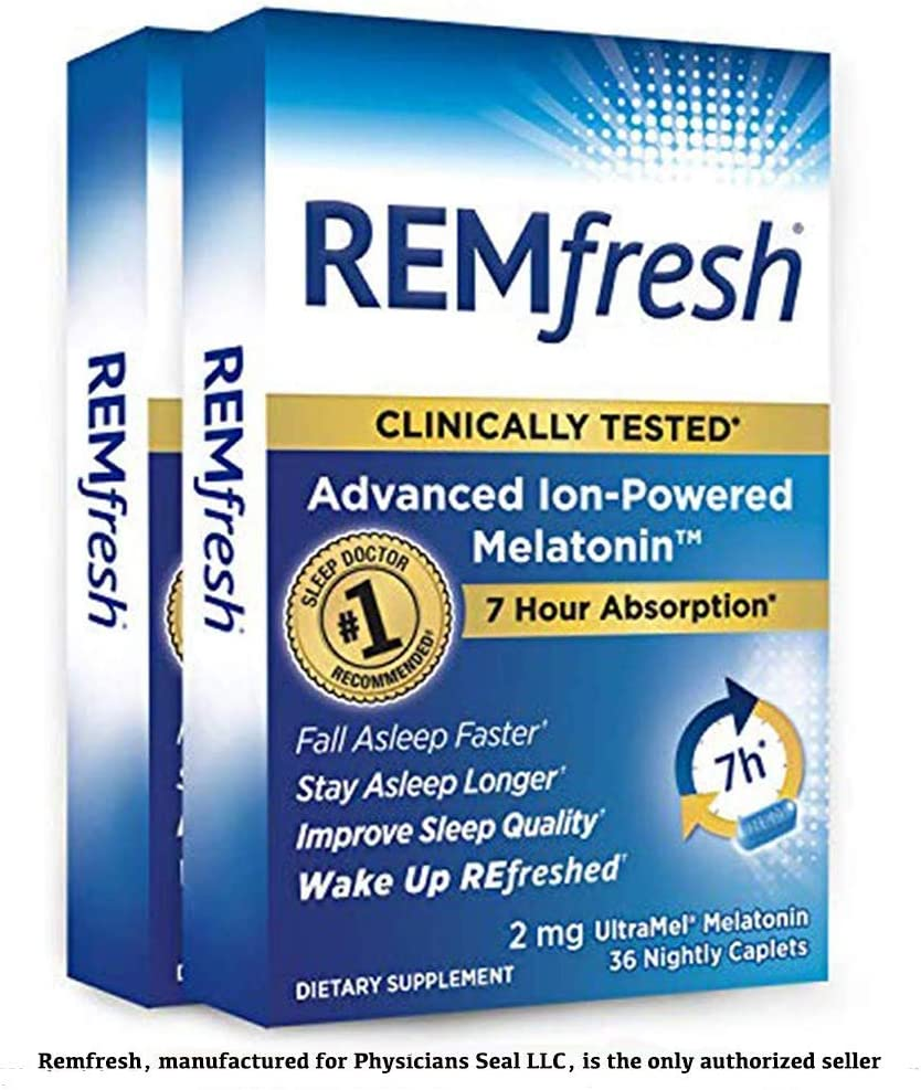 REMfresh 2mg Advanced Melatonin Sleep Aid Supplement (2 Pack of 36 caps) | Sleep Supports Immune Function | #1 Doctor Recommended | Drug-Free, Pharmaceutical-Grade Sleep Aid, Ultrapure Melatonin