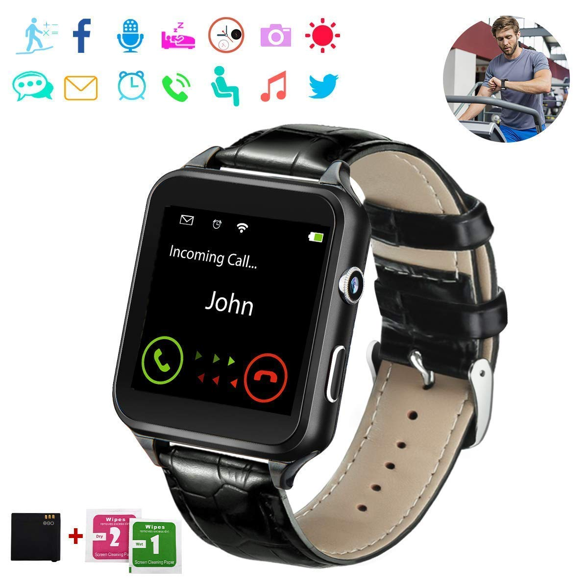 48d5385c9913 Smart Watch,Bluetooth Smartwatch Touchscreen with Camera, Smart Watches  Waterproof Smart Wrist Watch Phone