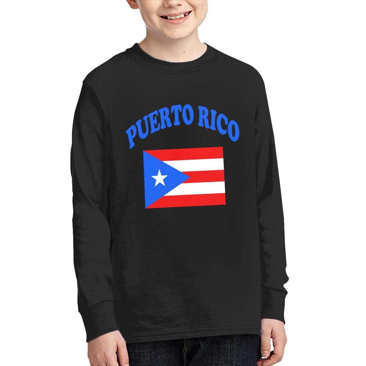 Teenagers Teen Boy Flag of Puerto Rico Printed Long Sleeve 100/% Cotton Tee Shirt