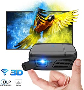 Mini 3D Projector,Rechargeable DLP Projector Large Display Support 1080P WiFi Screen Mirroring,Compatible with Home Theater TV Stick PS4 Mac Blu-ray/DVD Player iOS/Android/Windows Device HDMI USB