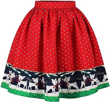 Zounghy Disfraz de Falda de Santa de Navidad para Mujer Vestido de ...