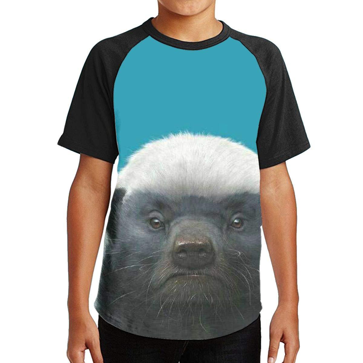 98b9c0ba1c898 Amazon.com: Youth 3D Print Short Sleeve Tee Bored Honey Badger Kids ...