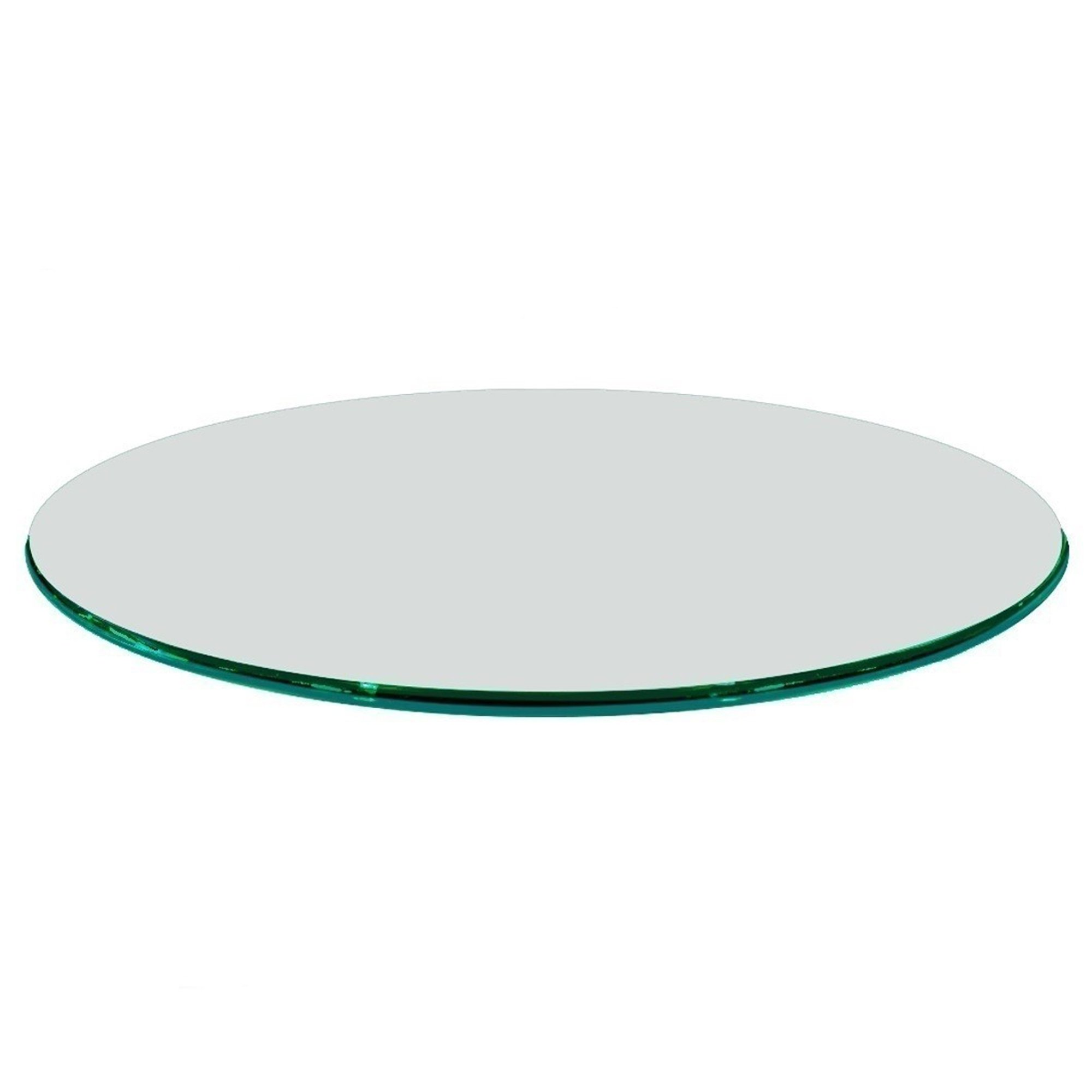 Fab Glass and Mirror 20RD12MMOGTE 20'' Inch Round 1/2'' Thick Ogee Tempered Glass Table Top Clear