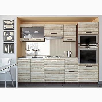 Justyou paula küchenzeile küchenblock küche 240 cm farbe akazie
